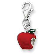 Picture of Sterling Silver Red Enameled Apple Charm