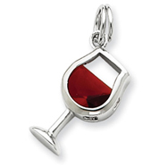 Picture of Sterling Silver Red CZ Wine Glass Charm