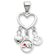Picture of Sterling Silver Enamel Heart With Heart, Love, Peace Pendant