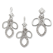 Picture of Sterling Silver CZ Dangle Pendant & Earring Set