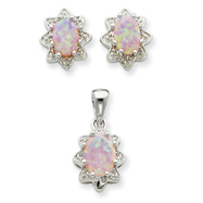 Picture of Sterling Silver Created Opal & CZ Pendant & Earring Set