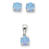 Picture of Sterling Silver Created Opal Pendant & Earring Set
