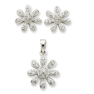 Picture of Sterling Silver CZ Flower Pendant & Earring Set