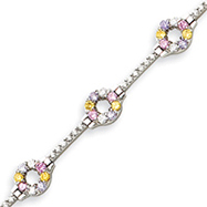 Picture of Sterling Silver 7''  Multicolor CZ Bracelet