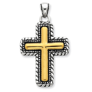 Picture of Sterling Silver Vermeil Antiqued Cross Pendant