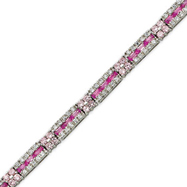Picture of Sterling Silver 7''  Pink CZ Tennis Bracelet