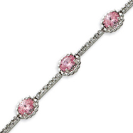 Picture of Sterling Silver 7''  Pink & Clear Oval CZ Bracelet