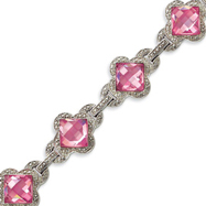 Picture of Sterling Silver 8''  Pink CZ Bracelet