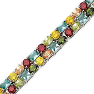 Picture of Sterling Silver 7''  Multi-Colored CZ Bracelet