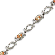 Picture of Sterling Silver 7.5''  Champagne CZ Bracelet