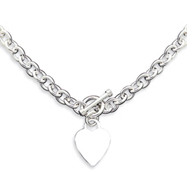 Picture of Sterling Silver Heart Fancy Link Toggle Necklace