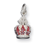 Picture of Sterling Silver Red Enamaled Crown Charm