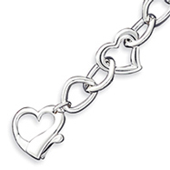 Picture of Sterling Silver Polished 3-D Heart Link Bracelet