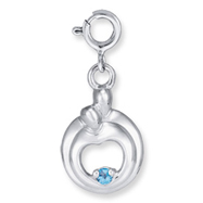 Picture of Sterling Silver Hearts Of Promise Created December Blue Zircon Birthstone Charm