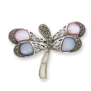 Picture of Sterling Silver Marcasite and Mother of Pearl CZ Butterfly Pin