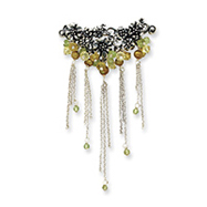 Picture of Sterling Silver Peridot/Freshwater Cultured Gold Pearl/Lime Crystal Pin