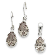 Picture of Sterling Silver Champagne CZ Earrings and Pendant Set