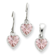 Picture of Sterling Silver Pink CZ Heart Earrings and Pendant Set
