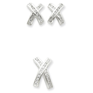 Picture of Sterling Silver CZ X Earrings and Pendant Set