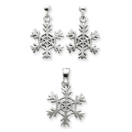 Picture of Sterling Silver Snowflake Earrings and Pendant Set