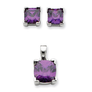 Picture of Sterling Silver Purple CZ Pendant & Earring Set
