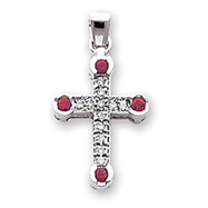 Picture of 14K White Gold Diamond & Ruby Cross Pendant