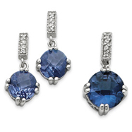Picture of Sterling Silver Blue & Clear CZ Pendant & Earring Set
