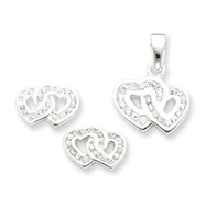 Picture of Sterling Silver Double Heart CZ Pendant & Earring Set