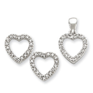 Picture of Sterling Silver CZ Heart Pendant & Earring Set