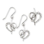 Picture of Sterling Silver CZ Heart Earring & Pendant Set
