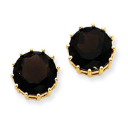 Picture of 14K Gold Smokey Quartz Post Earrings