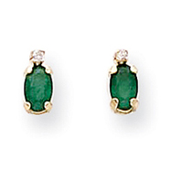 Picture of 14K Gold Diamond & Emerald Birthstone Earrings