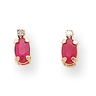 Picture of 14K Gold Diamond & Ruby Birthstone Earrings