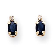 Picture of 14K Gold Diamond & Sapphire Birthstone Earrings