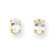 Picture of 14K Gold Oval April White Zircon Post Earrings