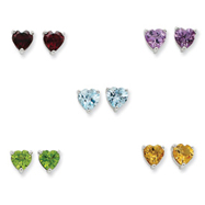 Picture of Sterling Silver Gemstone Post Earring Set