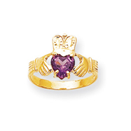 Picture of 14K Gold June Birthstone Claddagh Ring