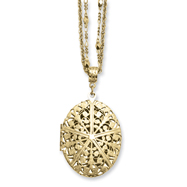 "Picture of Brass-tone Oval Locket on 16"" Double Chain Necklace"