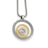 Picture of Stainless Steel And IP-plated Cubic Zirconia Circle Pendant Necklace