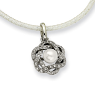 Picture of Stainless Steel Cultured Pearl & Cubic Zirconia Pendant