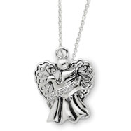 "Picture of Sterling Silver Antiqued Angel Of Faith 18"" Necklace"