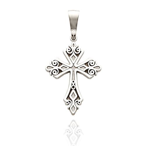 14k White Gold Fancy Scroll Cross Pendant