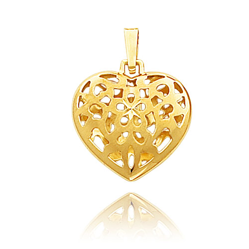 14k yellow gold small cut out floral puffed heart pendant mozeypictures Choice Image