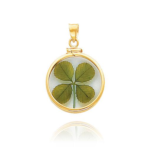14k yellow gold screw top bezel 4 leaf clover pendant aloadofball Choice Image