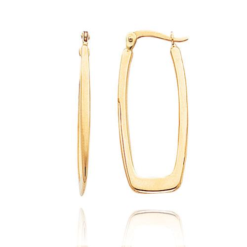 14k Gold Polished 2 25mm Rectangle Hoop Earrings