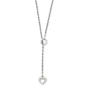 14K White Gold Heart Lariat Necklace