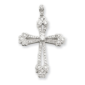 14k white gold diamond cross pendant mozeypictures Gallery