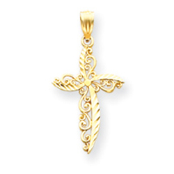 14k gold scroll design cross pendant audiocablefo