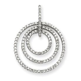 14k white gold triple circle diamond pendant aloadofball Images